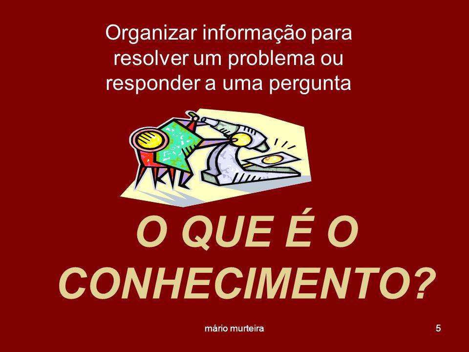 mário murteira5 O QUE É O CONHECIMENTO? Organizar informação para resolver um problema ou responder a uma pergunta