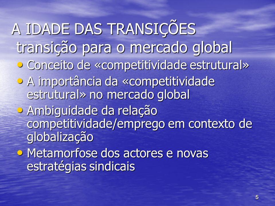 5 A IDADE DAS TRANSIÇÕES transição para o mercado global Conceito de «competitividade estrutural» Conceito de «competitividade estrutural» A importância da «competitividade estrutural» no mercado global A importância da «competitividade estrutural» no mercado global Ambiguidade da relação competitividade/emprego em contexto de globalização Ambiguidade da relação competitividade/emprego em contexto de globalização Metamorfose dos actores e novas estratégias sindicais Metamorfose dos actores e novas estratégias sindicais