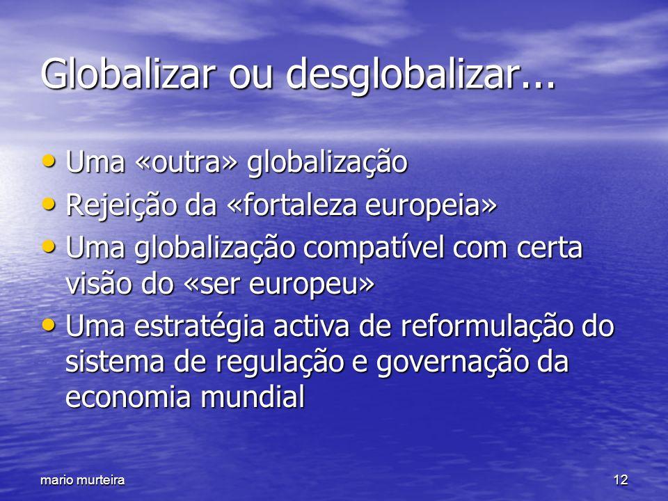 mario murteira12 Globalizar ou desglobalizar... Uma «outra» globalização Uma «outra» globalização Rejeição da «fortaleza europeia» Rejeição da «fortal