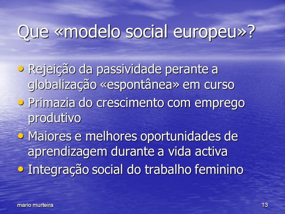 mario murteira13 Que «modelo social europeu»? Rejeição da passividade perante a globalização «espontânea» em curso Rejeição da passividade perante a g