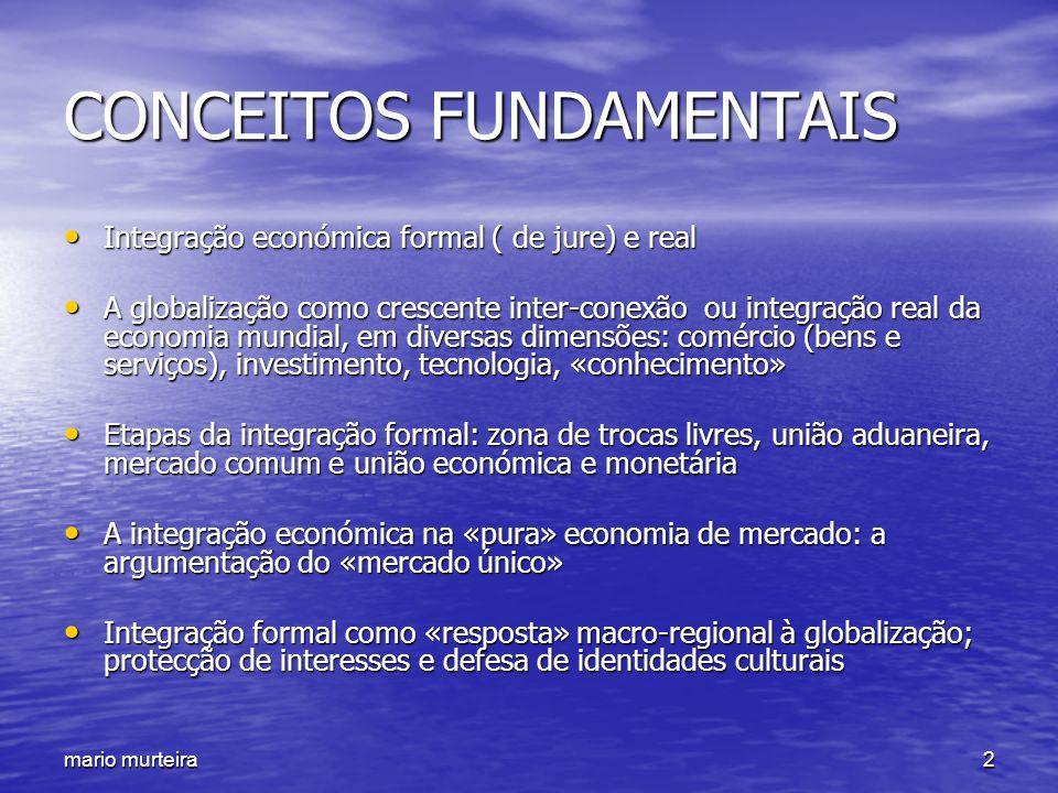 mario murteira2 CONCEITOS FUNDAMENTAIS Integração económica formal ( de jure) e real Integração económica formal ( de jure) e real A globalização como