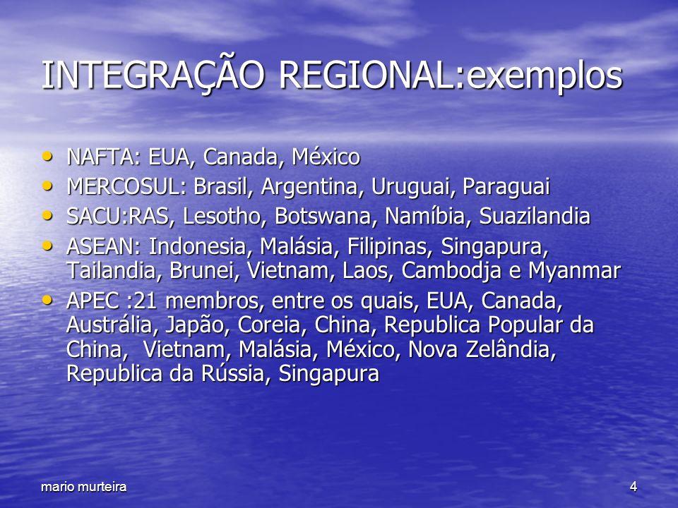 mario murteira4 INTEGRAÇÃO REGIONAL:exemplos NAFTA: EUA, Canada, México NAFTA: EUA, Canada, México MERCOSUL: Brasil, Argentina, Uruguai, Paraguai MERC