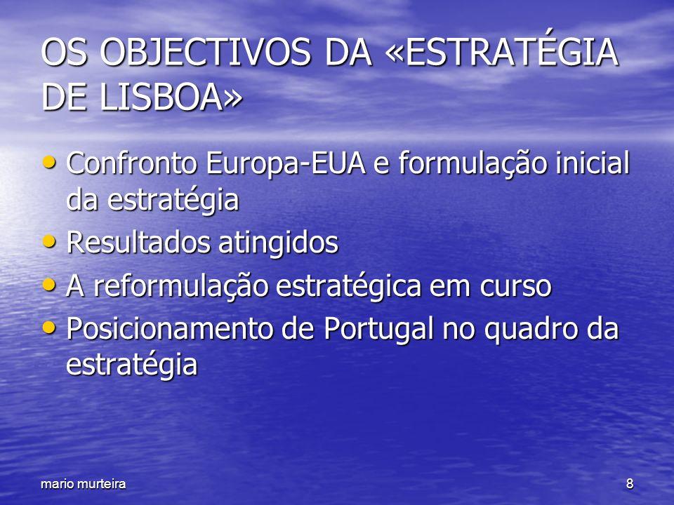 mario murteira8 OS OBJECTIVOS DA «ESTRATÉGIA DE LISBOA» Confronto Europa-EUA e formulação inicial da estratégia Confronto Europa-EUA e formulação inic