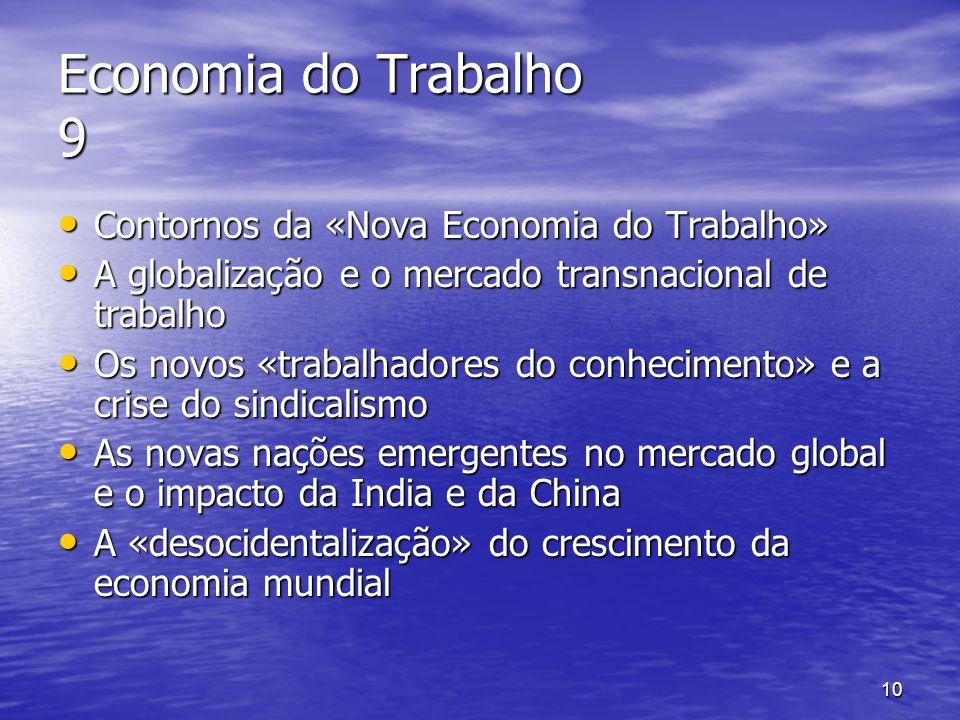 10 Economia do Trabalho 9 Contornos da «Nova Economia do Trabalho» Contornos da «Nova Economia do Trabalho» A globalização e o mercado transnacional d