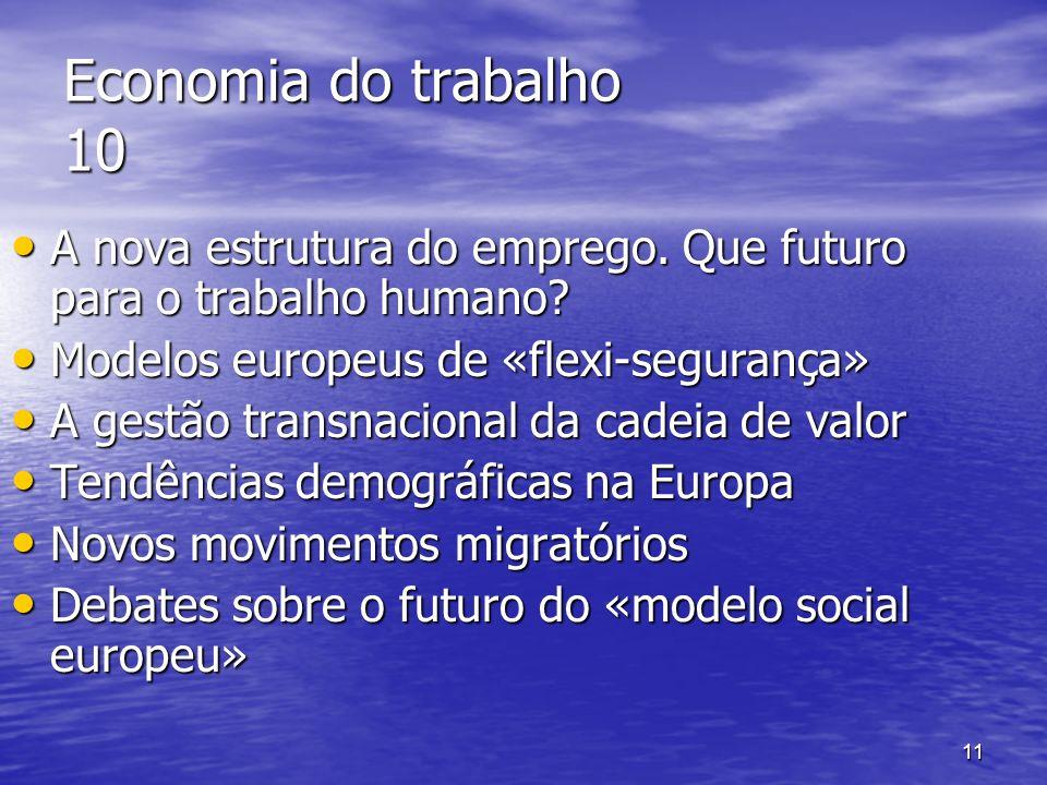 11 Economia do trabalho 10 A nova estrutura do emprego. Que futuro para o trabalho humano? A nova estrutura do emprego. Que futuro para o trabalho hum