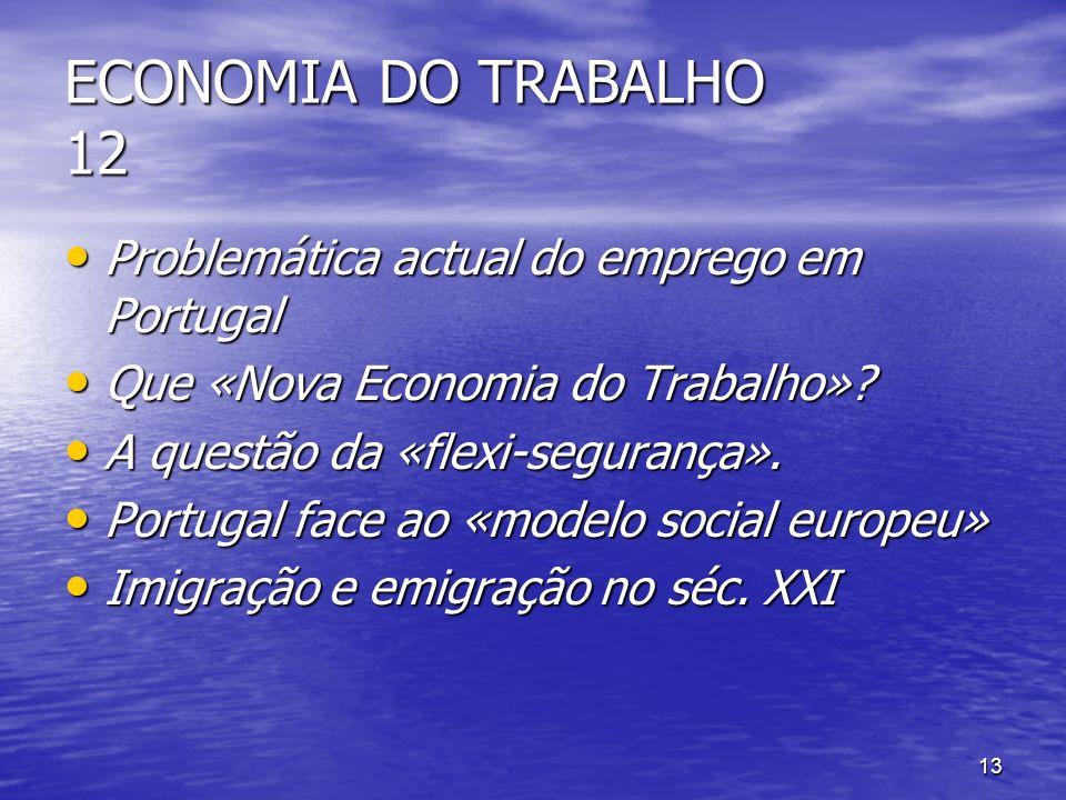 13 ECONOMIA DO TRABALHO 12 Problemática actual do emprego em Portugal Problemática actual do emprego em Portugal Que «Nova Economia do Trabalho»? Que