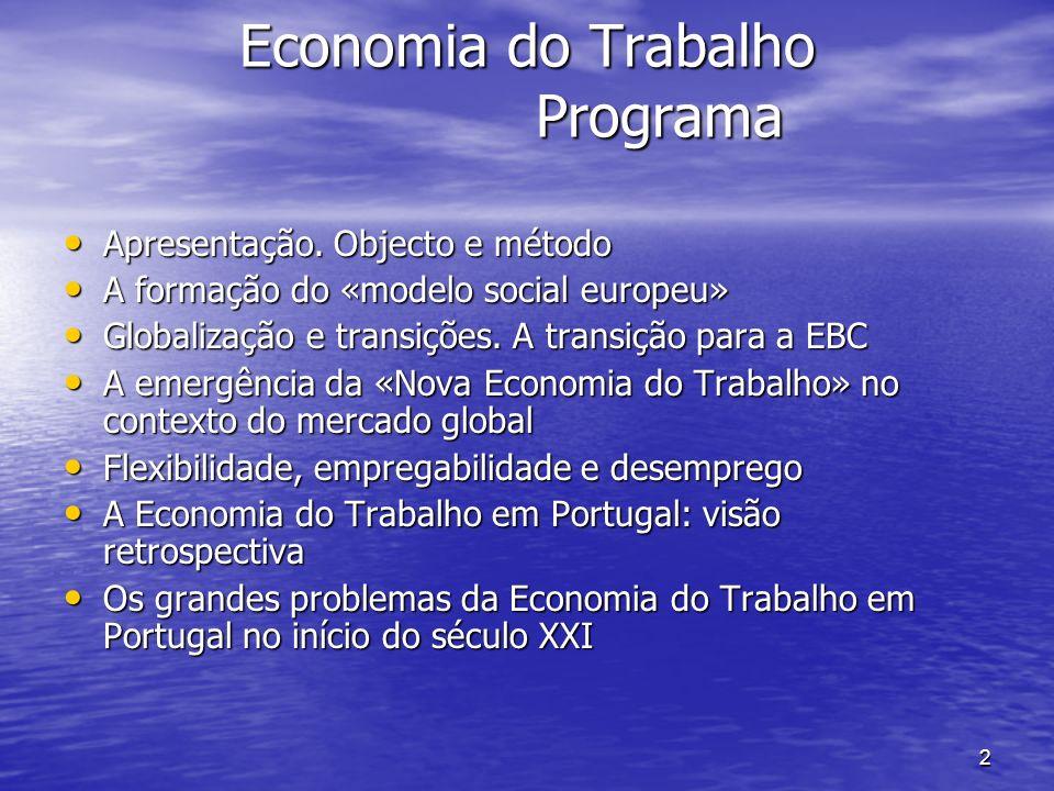 2 Economia do Trabalho Programa Economia do Trabalho Programa Apresentação. Objecto e método Apresentação. Objecto e método A formação do «modelo soci