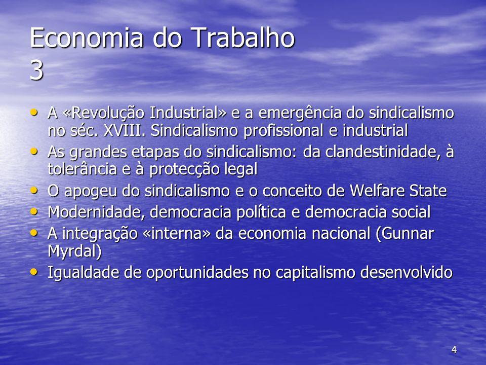 5 Economia do Trabalho 4 O sindicalismo como força integradora dos trabalhadores e «poder compensador» O sindicalismo como força integradora dos trabalhadores e «poder compensador» A ameaça do «Segundo Mundo» A ameaça do «Segundo Mundo» A emergência do «Terceiro Mundo» A emergência do «Terceiro Mundo» A estrutura do emprego em 1950/60 A estrutura do emprego em 1950/60 A doutrina keynesiana do «pleno emprego» A doutrina keynesiana do «pleno emprego» 1974/75 e o fim duma época 1974/75 e o fim duma época