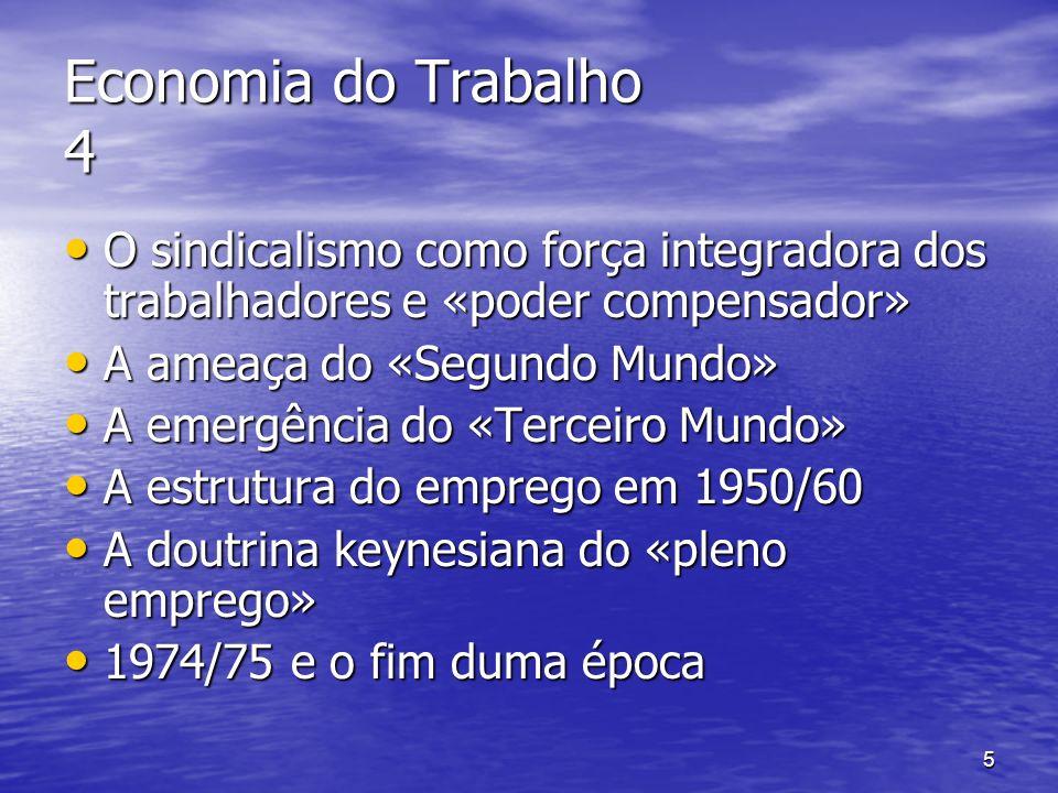 6 Economia do Trabalho 5 A formação do «modelo social europeu» A formação do «modelo social europeu» Um modelo ou vários.