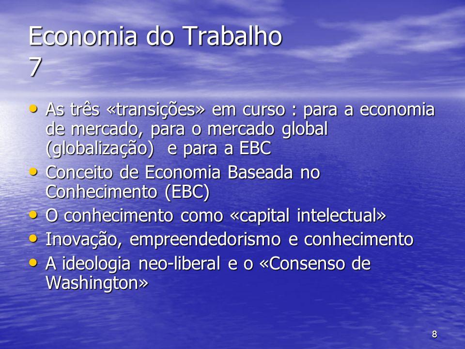 8 Economia do Trabalho 7 As três «transições» em curso : para a economia de mercado, para o mercado global (globalização) e para a EBC As três «transi