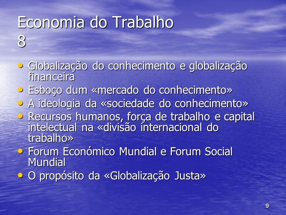 9 Economia do Trabalho 8 Globalização do conhecimento e globalização financeira Globalização do conhecimento e globalização financeira Esboço dum «mer