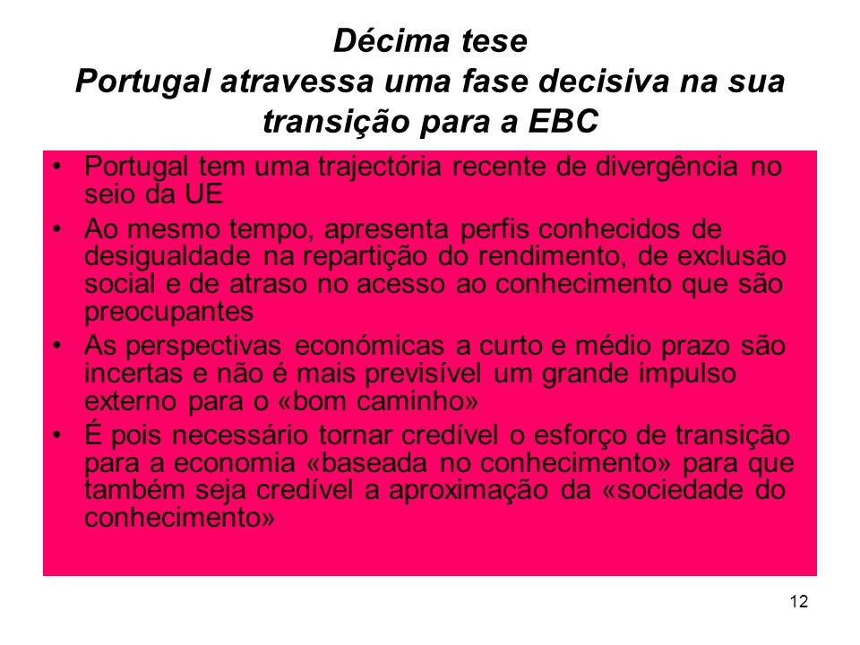 12 Décima tese Portugal atravessa uma fase decisiva na sua transição para a EBC Portugal tem uma trajectória recente de divergência no seio da UE Ao mesmo tempo, apresenta perfis conhecidos de desigualdade na repartição do rendimento, de exclusão social e de atraso no acesso ao conhecimento que são preocupantes As perspectivas económicas a curto e médio prazo são incertas e não é mais previsível um grande impulso externo para o «bom caminho» É pois necessário tornar credível o esforço de transição para a economia «baseada no conhecimento» para que também seja credível a aproximação da «sociedade do conhecimento»