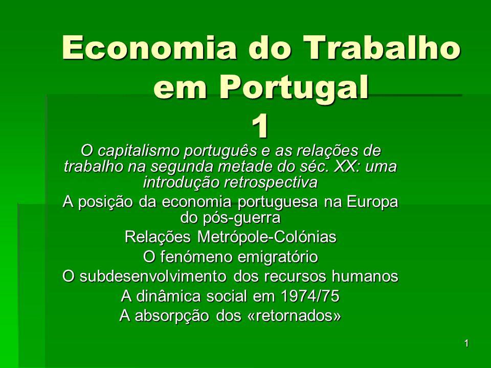 1 Economia do Trabalho em Portugal 1 O capitalismo português e as relações de trabalho na segunda metade do séc.