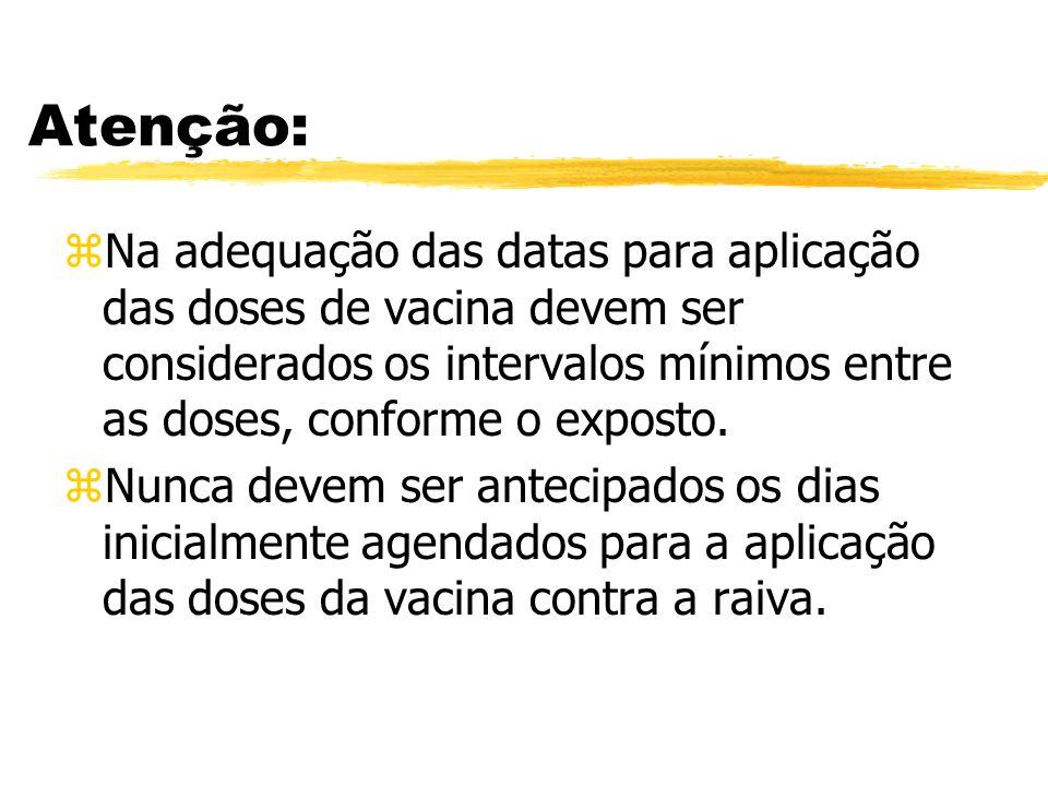 Atenção: zNa adequação das datas para aplicação das doses de vacina devem ser considerados os intervalos mínimos entre as doses, conforme o exposto. z