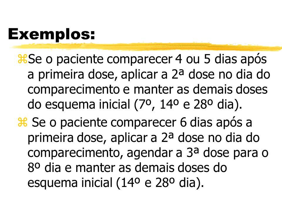 Exemplos: zSe o paciente comparecer 4 ou 5 dias após a primeira dose, aplicar a 2ª dose no dia do comparecimento e manter as demais doses do esquema i