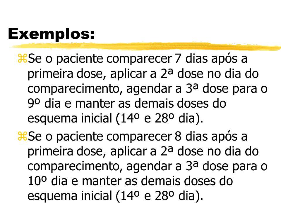 Exemplos: zSe o paciente comparecer 7 dias após a primeira dose, aplicar a 2ª dose no dia do comparecimento, agendar a 3ª dose para o 9º dia e manter