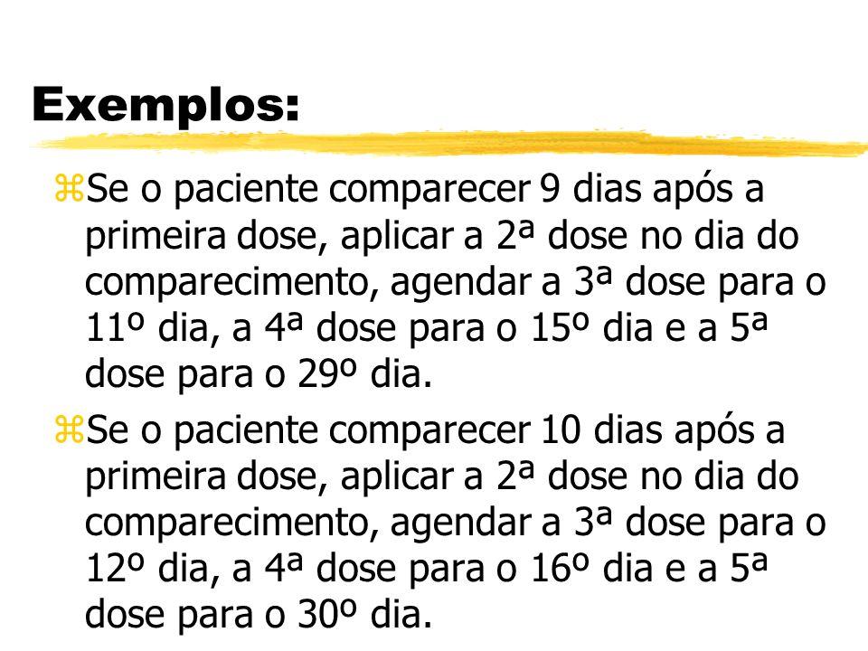 Exemplos: zSe o paciente comparecer 9 dias após a primeira dose, aplicar a 2ª dose no dia do comparecimento, agendar a 3ª dose para o 11º dia, a 4ª do