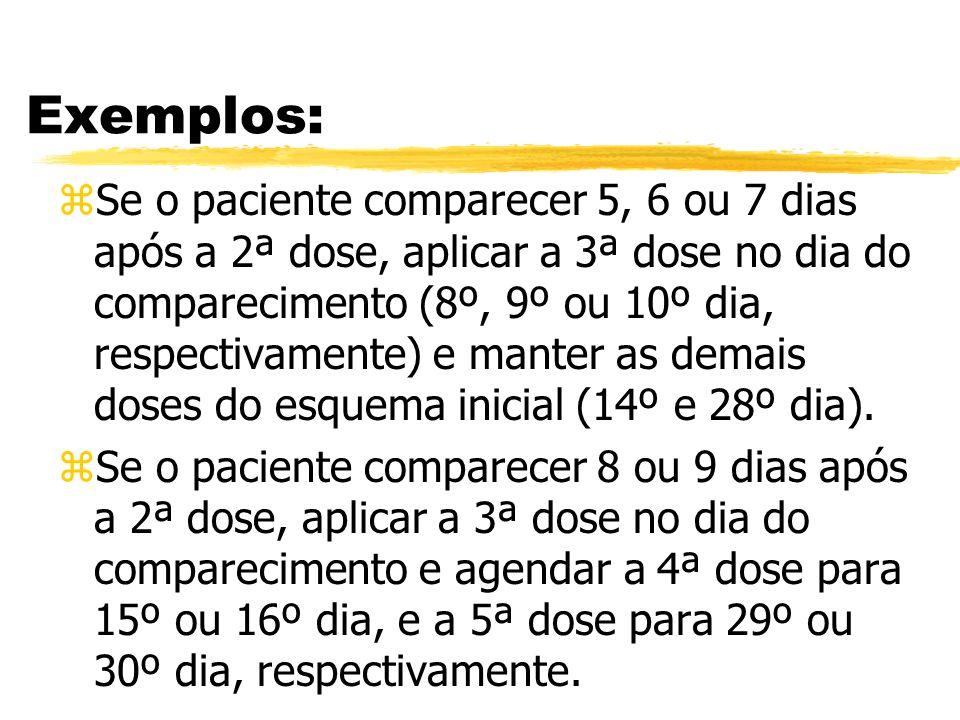 Exemplos: zSe o paciente comparecer 5, 6 ou 7 dias após a 2ª dose, aplicar a 3ª dose no dia do comparecimento (8º, 9º ou 10º dia, respectivamente) e m