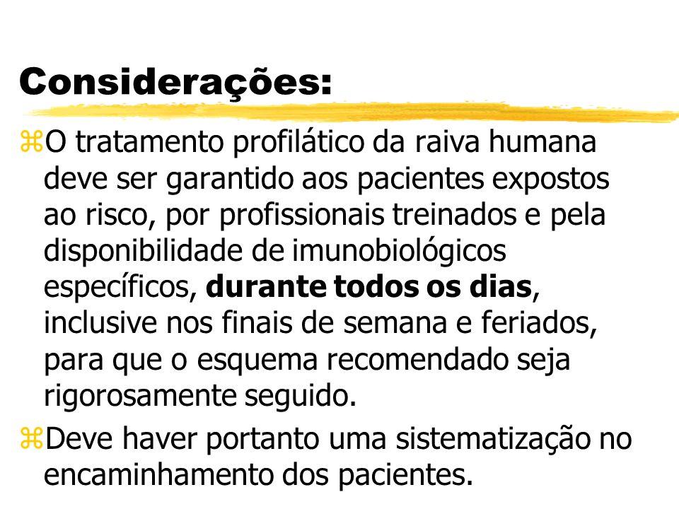Considerações: zO tratamento profilático da raiva humana deve ser garantido aos pacientes expostos ao risco, por profissionais treinados e pela dispon