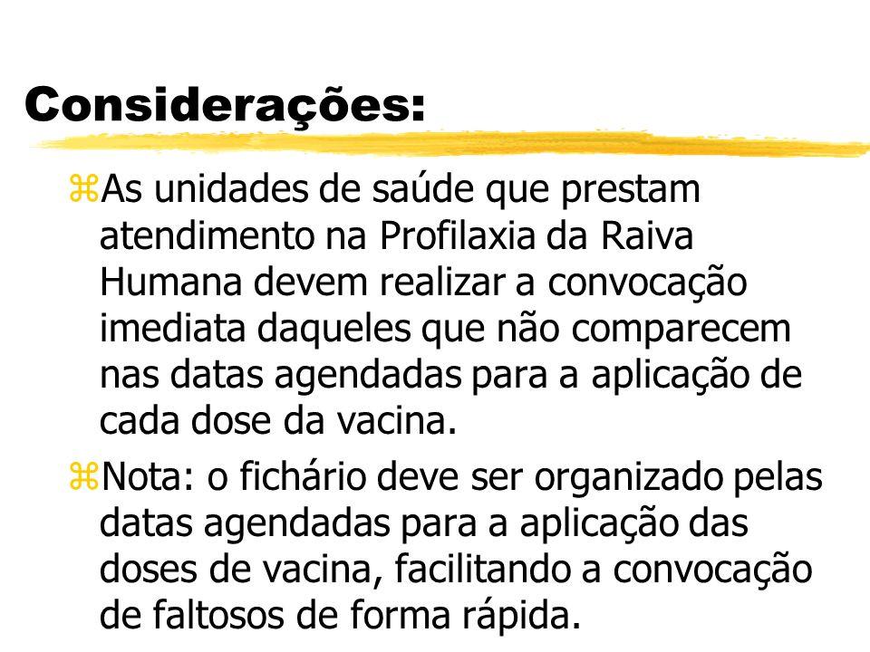 Considerações: zAs unidades de saúde que prestam atendimento na Profilaxia da Raiva Humana devem realizar a convocação imediata daqueles que não compa