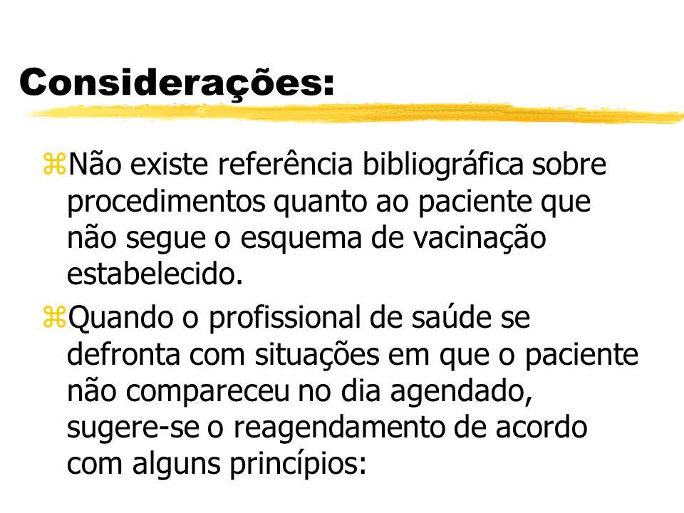 Considerações: zNão existe referência bibliográfica sobre procedimentos quanto ao paciente que não segue o esquema de vacinação estabelecido. zQuando