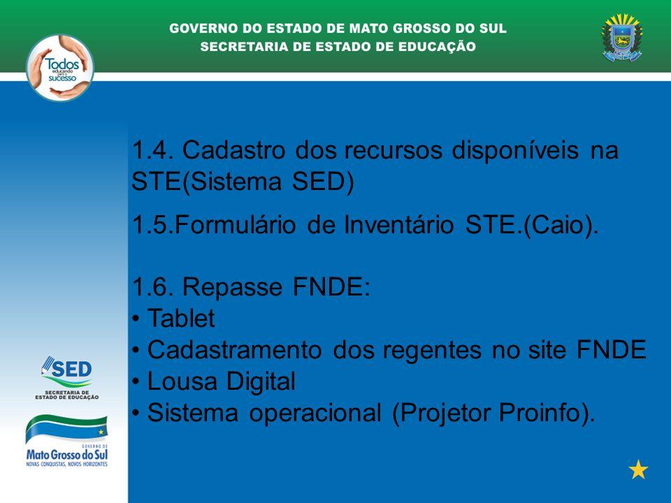 1.4. Cadastro dos recursos disponíveis na STE(Sistema SED) 1.5.Formulário de Inventário STE.(Caio). 1.6. Repasse FNDE: Tablet Cadastramento dos regent