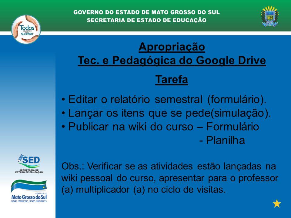 Apropriação Tec. e Pedagógica do Google Drive Tarefa Editar o relatório semestral (formulário). Lançar os itens que se pede(simulação). Publicar na wi