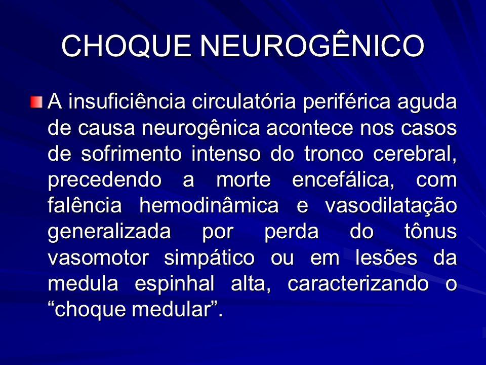 CHOQUE NEUROGÊNICO A insuficiência circulatória periférica aguda de causa neurogênica acontece nos casos de sofrimento intenso do tronco cerebral, pre