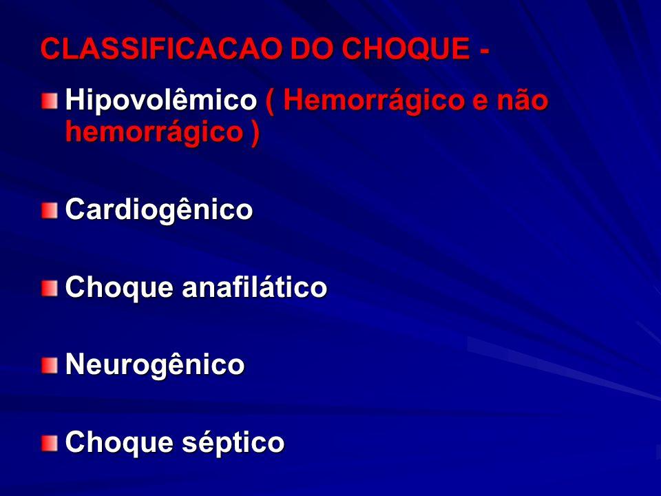 CLASSIFICACAO DO CHOQUE - Hipovolêmico ( Hemorrágico e não hemorrágico ) Cardiogênico Choque anafilático Neurogênico Choque séptico