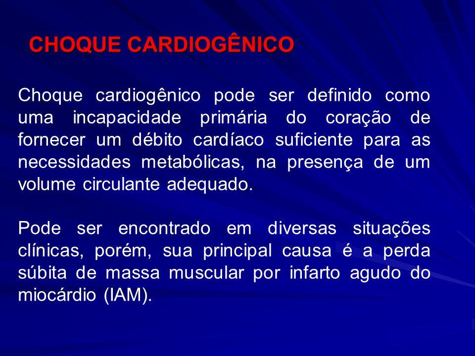 CHOQUE CARDIOGÊNICO Choque cardiogênico pode ser definido como uma incapacidade primária do coração de fornecer um débito cardíaco suficiente para as