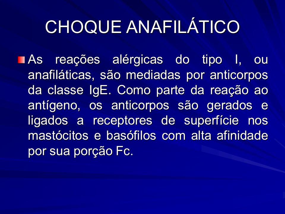CHOQUE ANAFILÁTICO As reações alérgicas do tipo I, ou anafiláticas, são mediadas por anticorpos da classe IgE. Como parte da reação ao antígeno, os an
