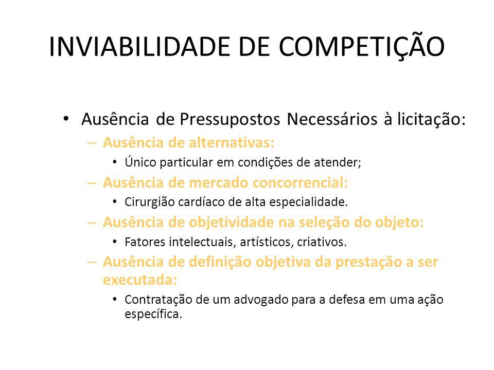 INEXIGIBILIDADE DE LICITAÇÃO INVIABILIDADE DE COMPETIÇÃO: – ART. 25 – Exemplificativo. VIABILIDADE DE COMPETIÇÃO: Licitação: – conjugação de atividade