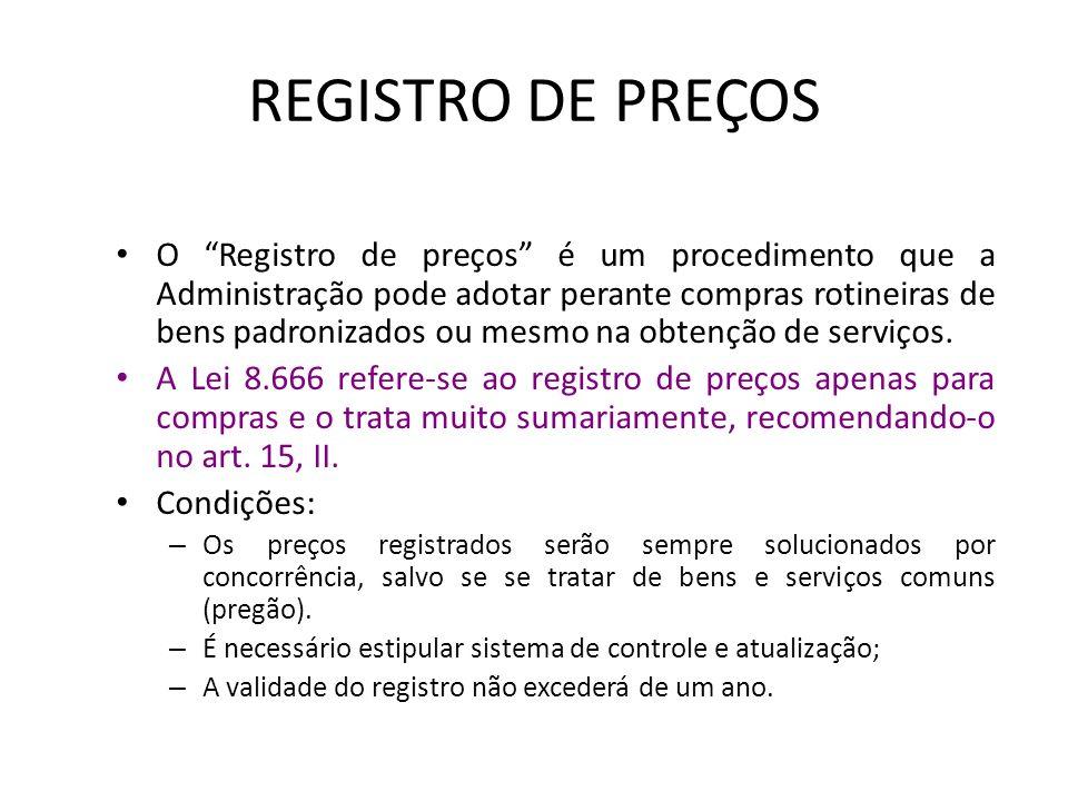 COMPARAÇÃO Concorrência Prazo mínimo entre a publicação do último aviso e a data p/ recebimento de propostas de 30 dias ou 45 (melhor técnicas e técni