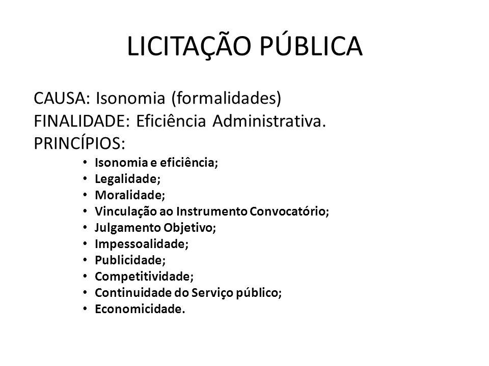 LICITAÇÃO PÚBLICA CAUSA: Isonomia (formalidades) FINALIDADE: Eficiência Administrativa.