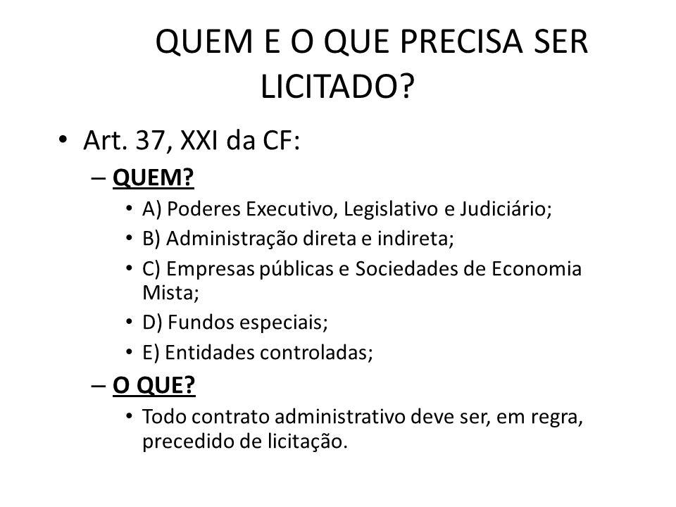 QUEM E O QUE PRECISA SER LICITADO.Art. 37, XXI da CF: – QUEM.