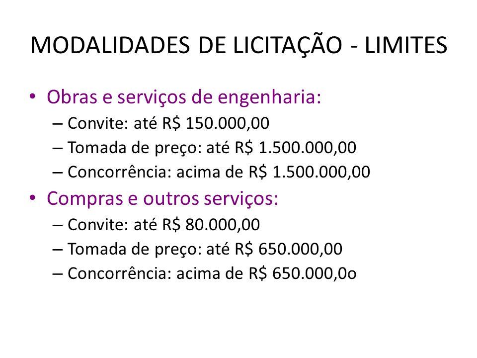 MODALIDADES DE LICITAÇÃO - LIMITES Obras e serviços de engenharia: – Convite: até R$ 150.000,00 – Tomada de preço: até R$ 1.500.000,00 – Concorrência: acima de R$ 1.500.000,00 Compras e outros serviços: – Convite: até R$ 80.000,00 – Tomada de preço: até R$ 650.000,00 – Concorrência: acima de R$ 650.000,0o
