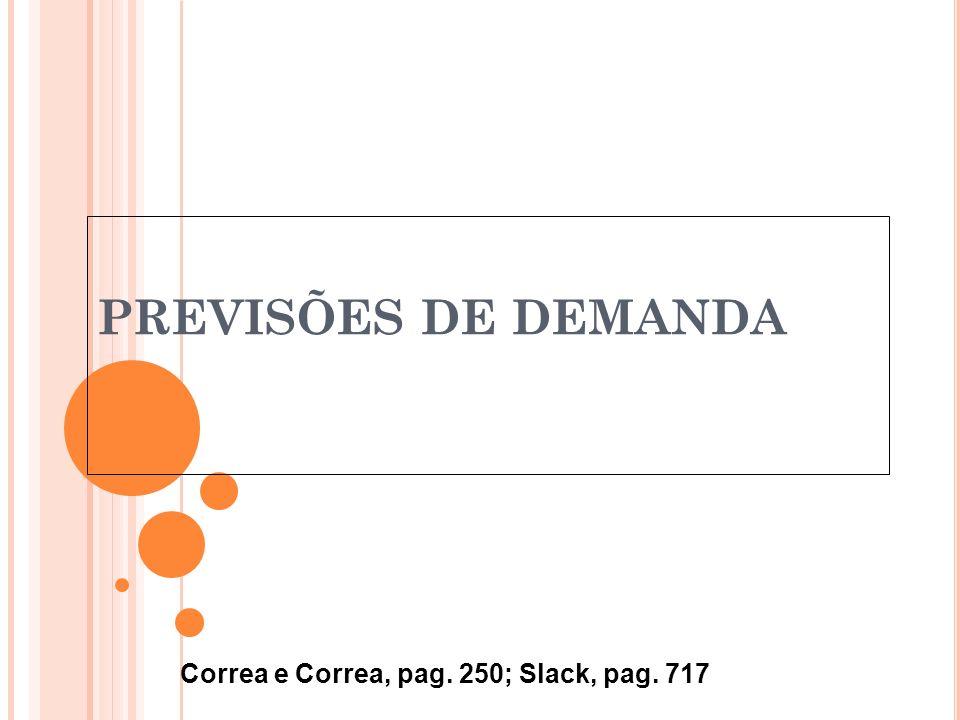 PREVISÕES DE DEMANDA Correa e Correa, pag. 250; Slack, pag. 717