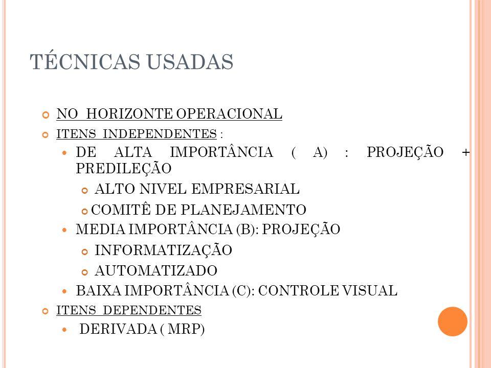 TÉCNICAS USADAS NO HORIZONTE OPERACIONAL ITENS INDEPENDENTES : DE ALTA IMPORTÂNCIA ( A) : PROJEÇÃO + PREDILEÇÃO ALTO NIVEL EMPRESARIAL COMITÊ DE PLANE
