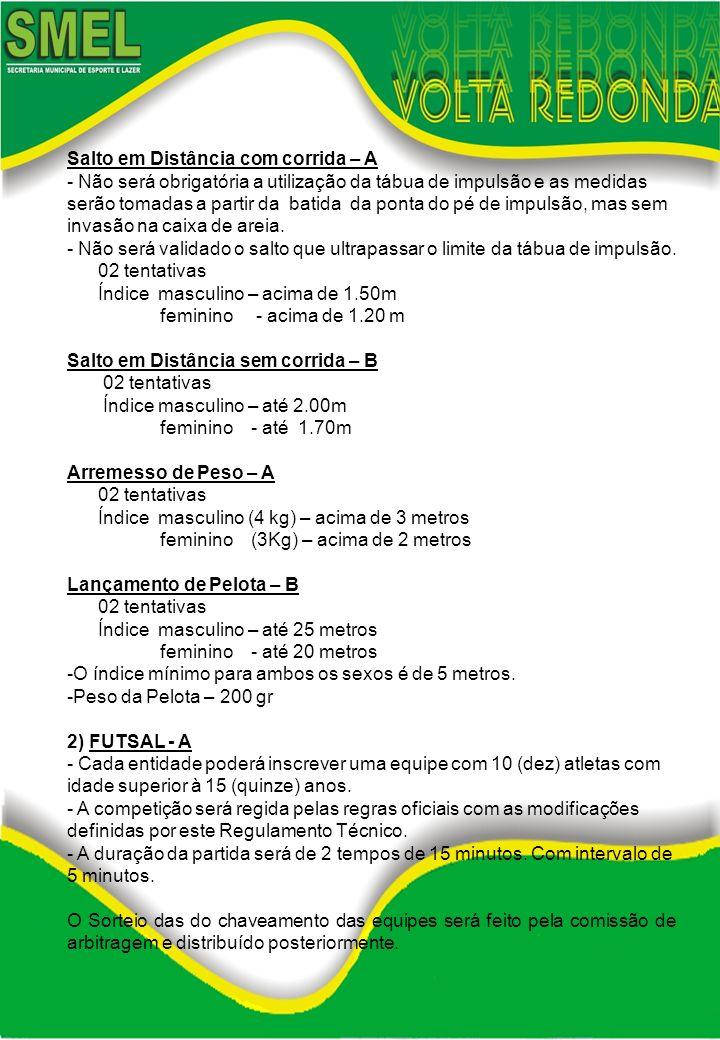 3) VOLEIBOL ESPECIAL – B - Cada entidade poderá inscrever uma equipe de 16 (dezesseis) atletas, 08 masc.