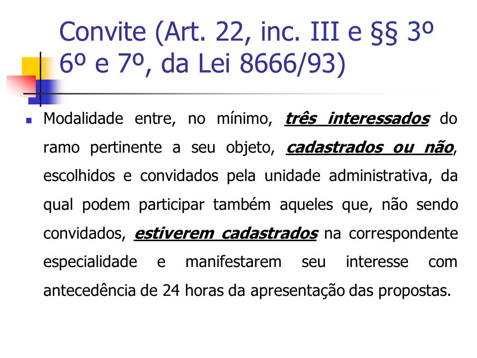 Convite (Art.22, inc.