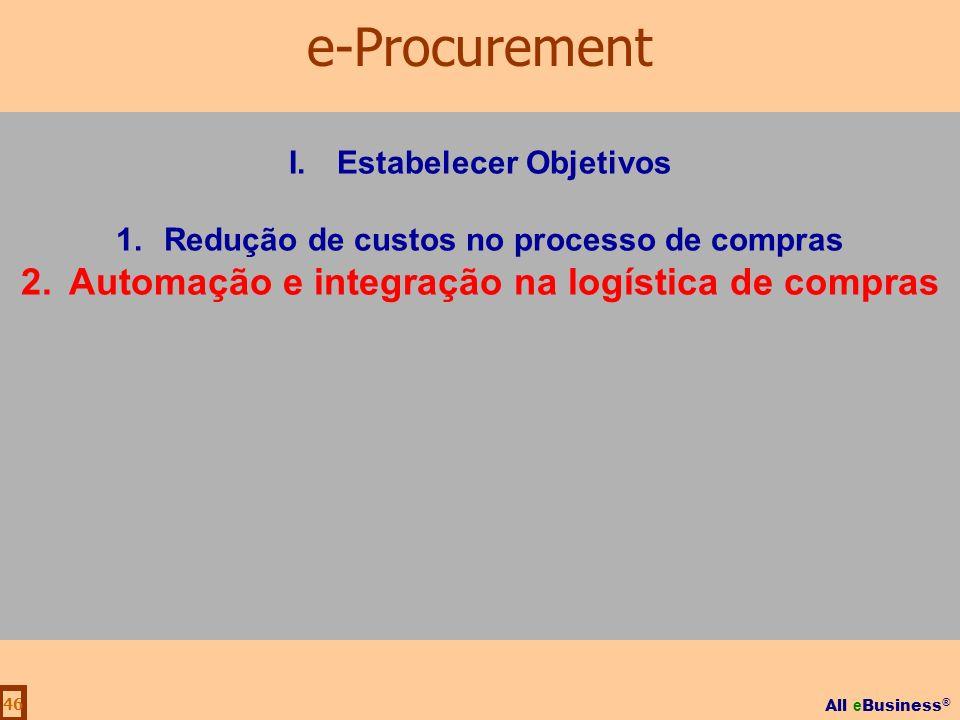 All e Business ® 46 I.Estabelecer Objetivos 1.Redução de custos no processo de compras 2.Automação e integração na logística de compras e-Procurement