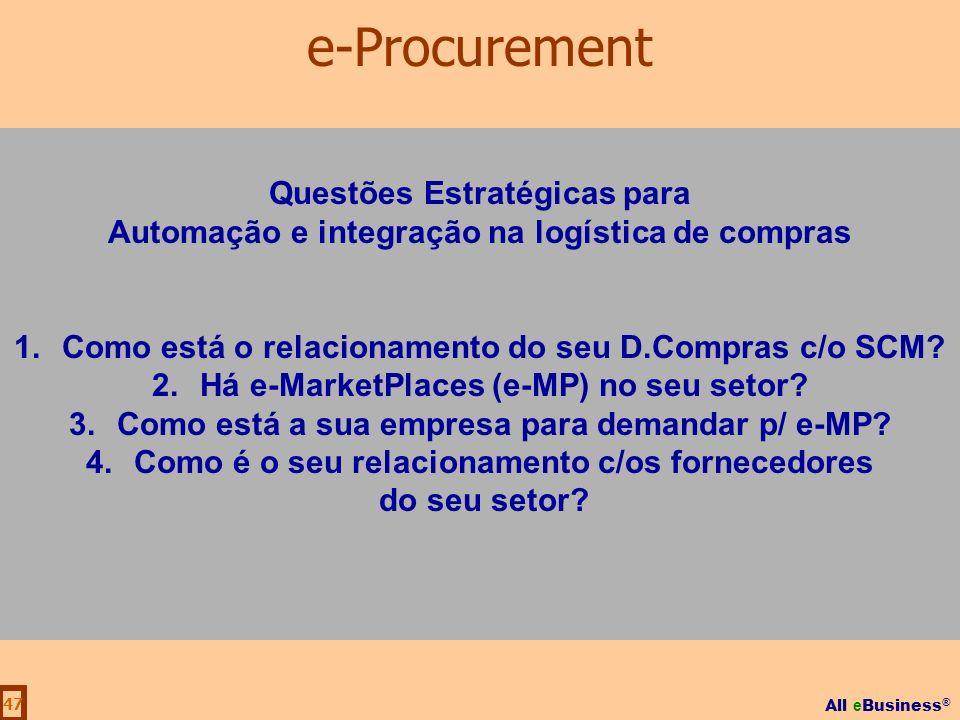 All e Business ® 47 Questões Estratégicas para Automação e integração na logística de compras 1.Como está o relacionamento do seu D.Compras c/o SCM? 2