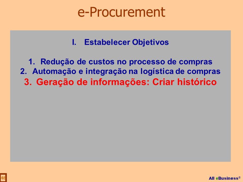 All e Business ® 48 I.Estabelecer Objetivos 1.Redução de custos no processo de compras 2.Automação e integração na logística de compras 3.Geração de i