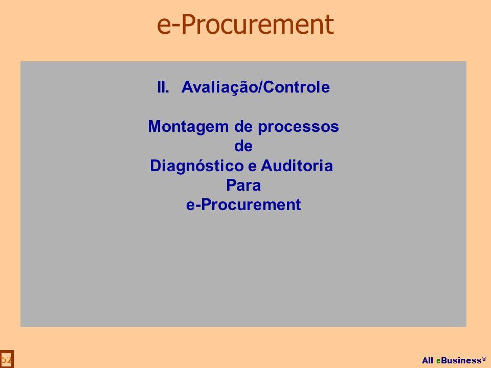All e Business ® 52 II.Avaliação/Controle Montagem de processos de Diagnóstico e Auditoria Para e-Procurement
