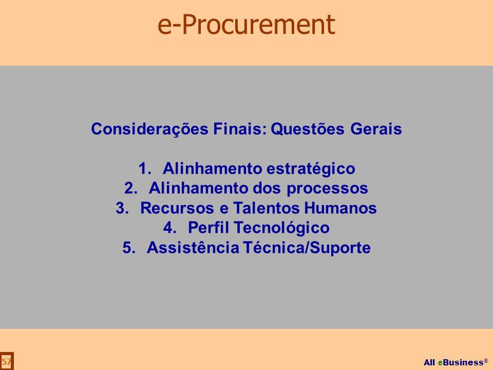 All e Business ® 57 Considerações Finais: Questões Gerais 1.Alinhamento estratégico 2.Alinhamento dos processos 3.Recursos e Talentos Humanos 4.Perfil