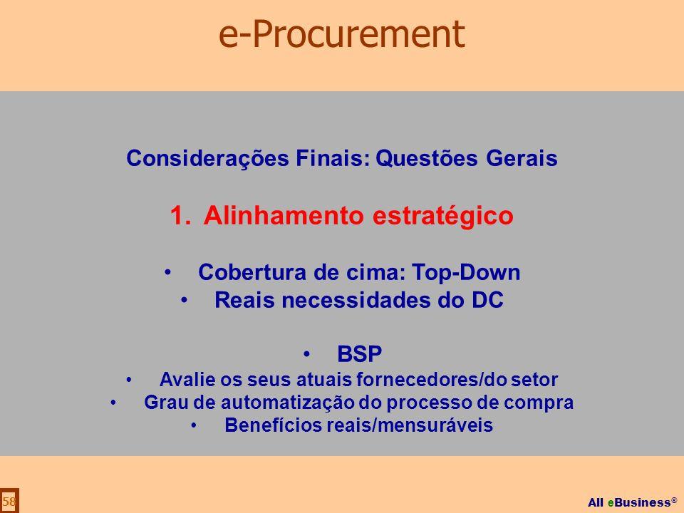 All e Business ® 58 Considerações Finais: Questões Gerais 1.Alinhamento estratégico Cobertura de cima: Top-Down Reais necessidades do DC BSP Avalie os