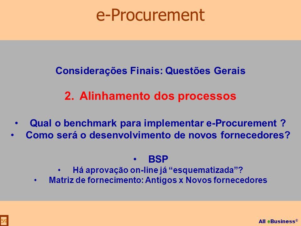 All e Business ® 59 Considerações Finais: Questões Gerais 2.Alinhamento dos processos Qual o benchmark para implementar e-Procurement ? Como será o de