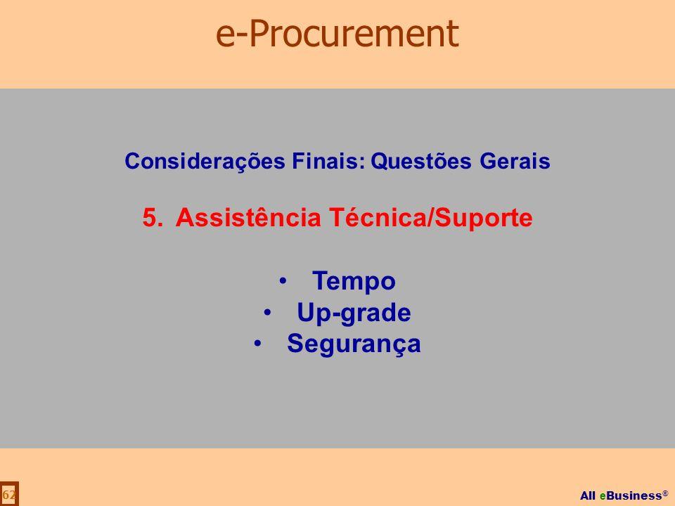 All e Business ® 62 Considerações Finais: Questões Gerais 5.Assistência Técnica/Suporte Tempo Up-grade Segurança e-Procurement
