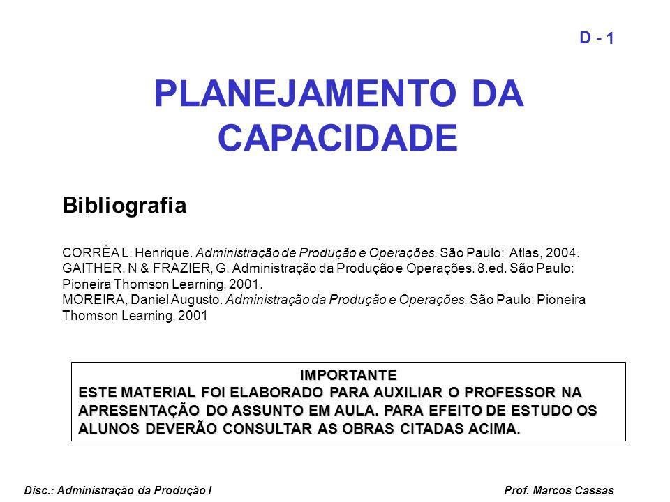 Prof. Marcos Cassas 1 D - Disc.: Administração da Produção I PLANEJAMENTO DA CAPACIDADE Bibliografia CORRÊA L. Henrique. Administração de Produção e O
