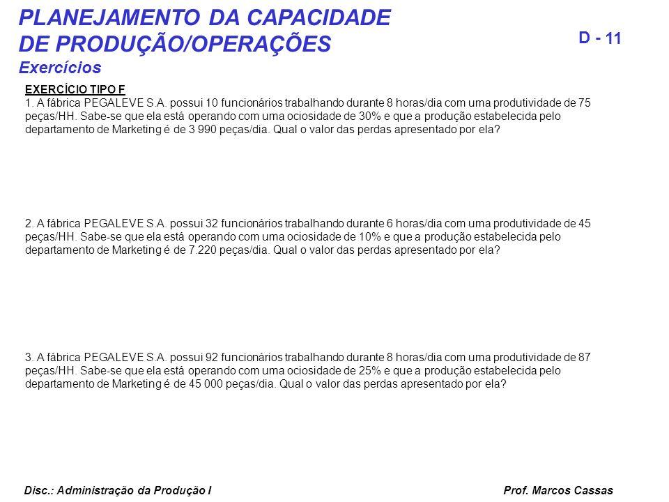 Prof. Marcos Cassas 11 D - Disc.: Administração da Produção I PLANEJAMENTO DA CAPACIDADE DE PRODUÇÃO/OPERAÇÕES Exercícios EXERCÍCIO TIPO F 1. A fábric
